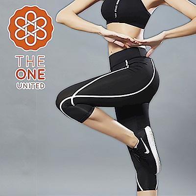 【The One】簡約曲線修身七分運動褲/瑜珈褲(黑色)