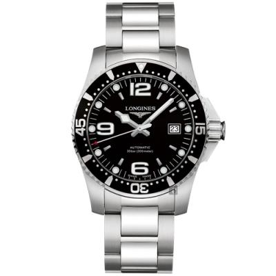 LONGINES浪琴 征服者300米64小時動力儲存機械錶-黑/41mm