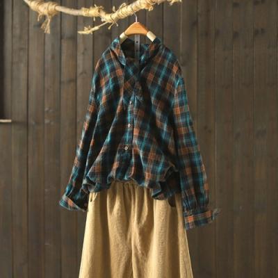 港味純棉格子襯衫寬鬆長袖上衣-設計所在
