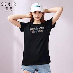 SEMIR森馬-創意字型英文字刺繡T恤-女(2色)