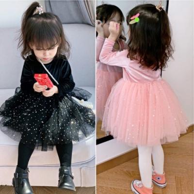 小衣衫童裝 女童秋冬絲絨長袖滿天星紗裙洋裝1081102