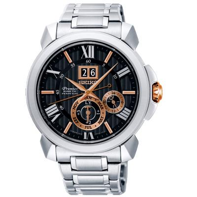 SEIKO 精工人動電能自動追時萬年曆手錶SNP149J1-黑X銀/43mm