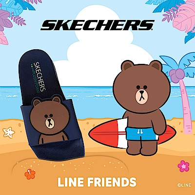 SKECHERS 女休閒系列 涼拖 2ND TAKE LINE FRIENDS 熊大限定款 - 31644RYL