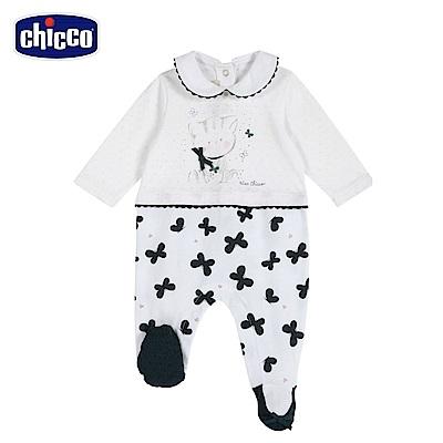chicco-蝴蝶-有領後開長袖兔裝