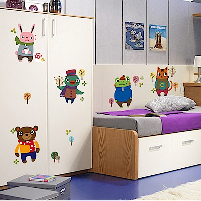 半島良品 DIY無痕壁貼-卡哇伊小熊 AY6043 45x60cm