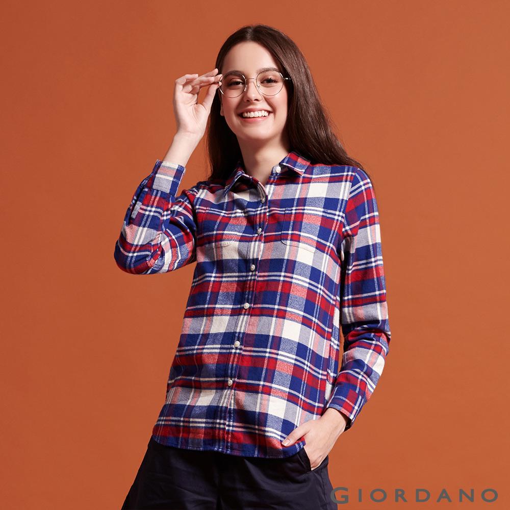 GIORDANO 女裝純棉雙口袋法蘭絨襯衫-32 紅/藍/奶油白/格子 @ Y!購物