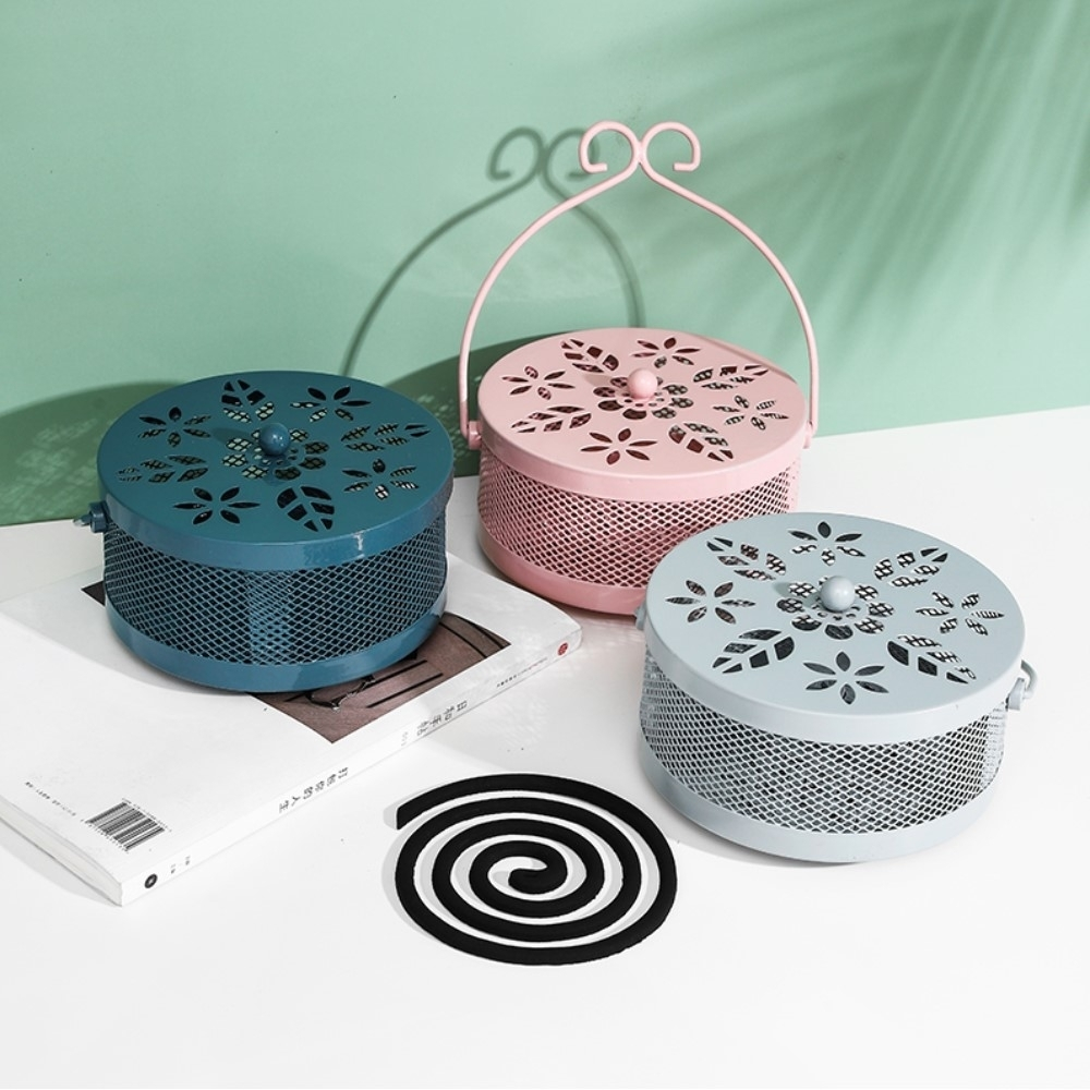 【AOTTO】手提防火古樸鏤空蚊香架 蚊香盒(美觀實用)