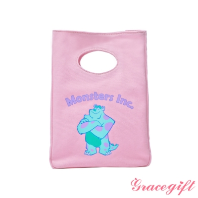 Disney collection by gracegift-怪獸大學毛怪立體帆布便當袋 粉