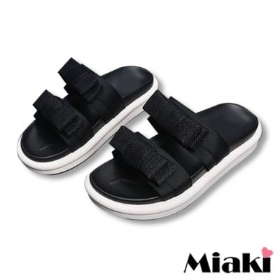 Miaki-拖鞋繽紛仲夏厚底涼鞋-黑