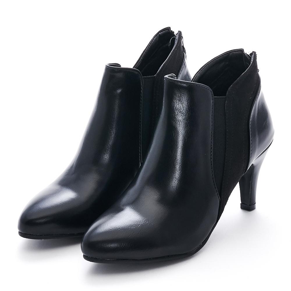 Camille's 韓國空運-尖頭拼接麂絨拉鍊細高跟踝短靴-黑色
