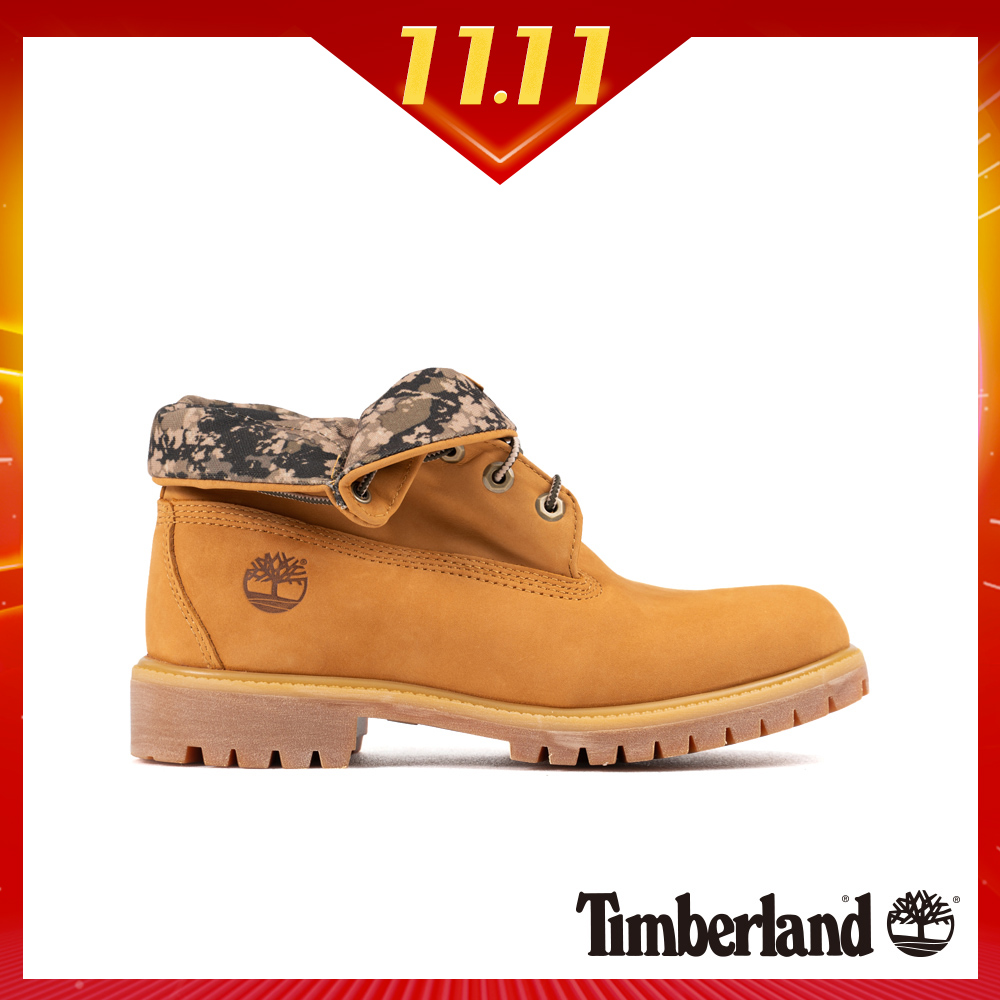 Timberland 男款小麥色兩穿迷彩反折靴|A1HAE