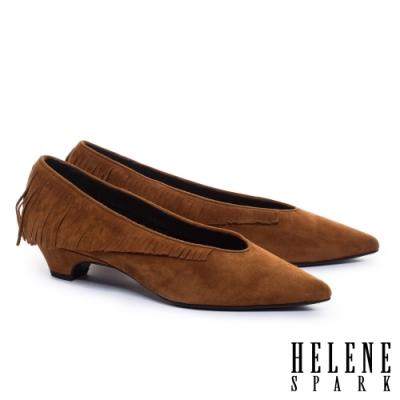 低跟鞋 HELENE SPARK 輕奢時髦流蘇全真皮尖頭低跟鞋-咖