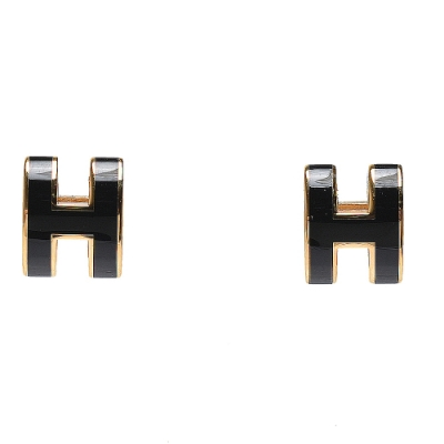 HERMES 經典Pop H立體簍空橢圓LOGO耳環(小_黑/金)