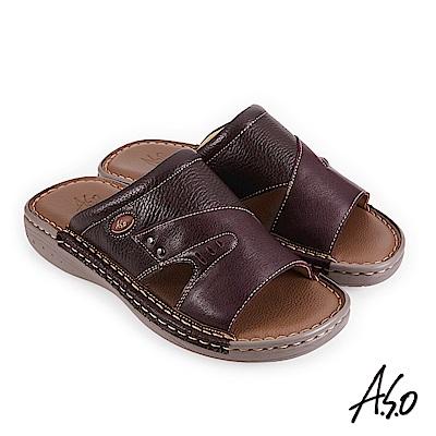 A.S.O 機能休閒 手縫氣墊雙面料拼接休閒男拖鞋-咖啡