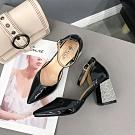KEITH-WILL時尚鞋館 獨家款前帶設計尖頭粗跟鞋 黑