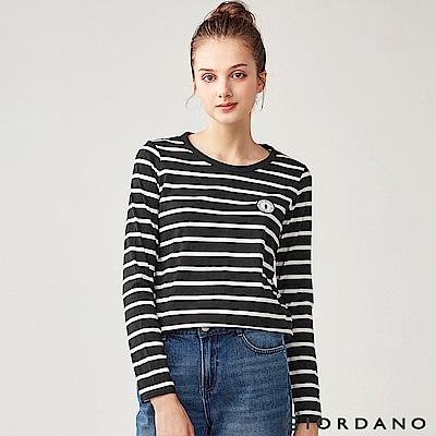GIORDANO 女裝純棉小巧刺繡長袖T恤-33 標誌黑/皎雪色