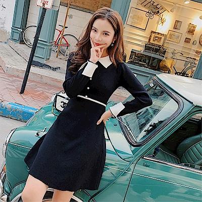 DABI 韓國風收腰優雅撞色針織名媛長袖洋裝