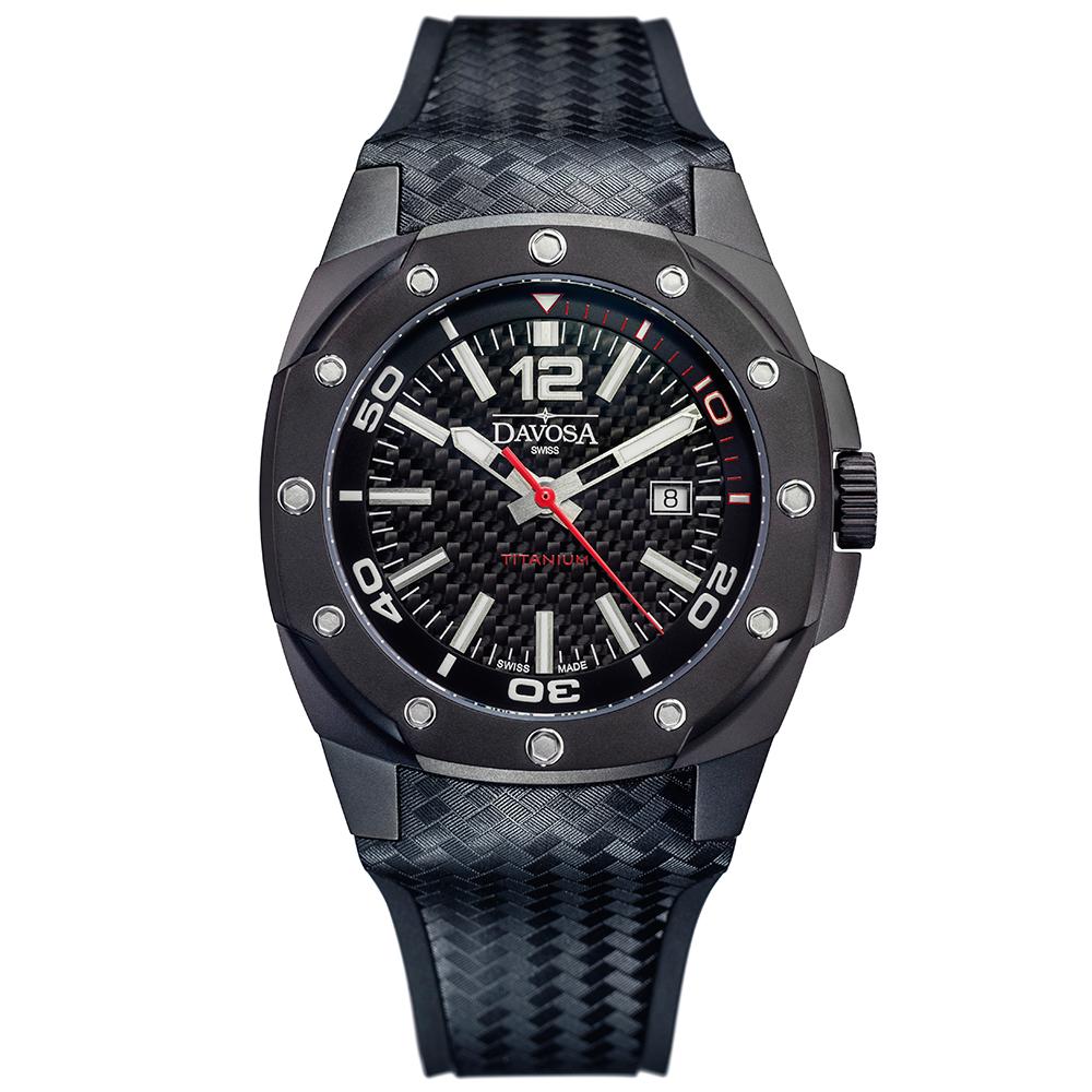 DAVOSA NEW Titanium 極限競技純鈦手錶-碳纖維錶面/PVD黑47mm