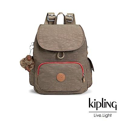 Kipling 簡約卡其撞色拉鍊掀蓋後背包-CITY PACK S-ESSENTIAL系列