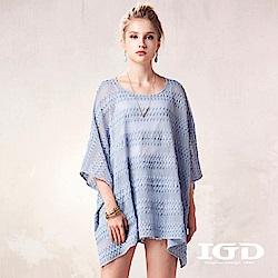 IGD英格麗 蕾絲條紋網眼外罩衫-藍