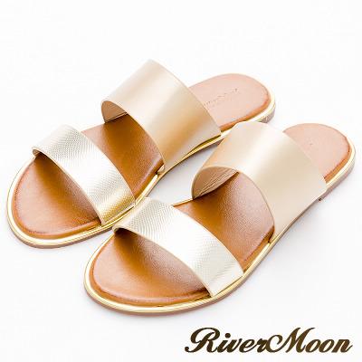 River&Moon大尺碼-韓版金屬雙寬帶金邊涼拖鞋-金系