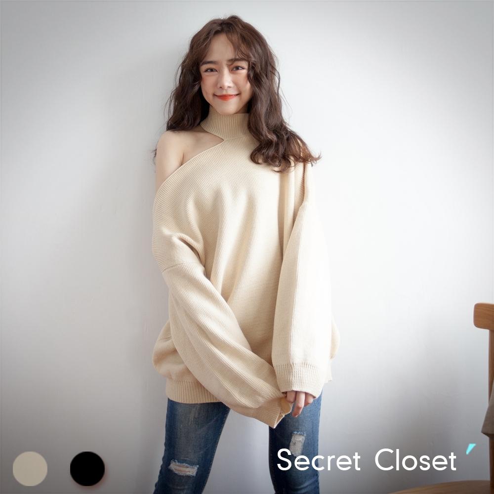 Secret Closet-性感露肩掛脖針織毛衣