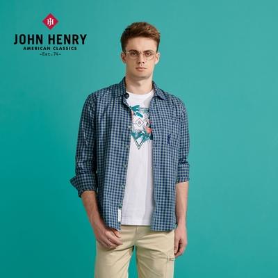 【JOHN HENRY】美國棉格紋口袋長袖襯衫-藍綠色