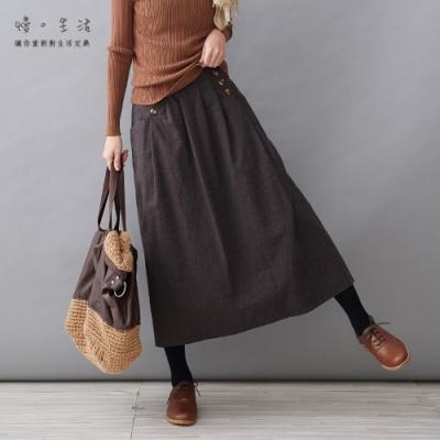 慢 生活 加厚棉料內襯長裙- 黑/咖