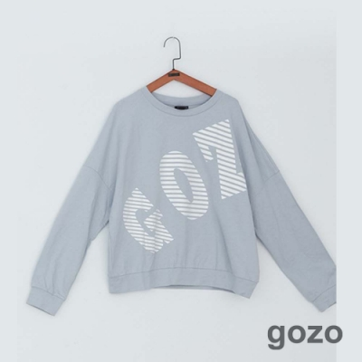 gozo 品牌條碼印字棉上衣(灰色)S
