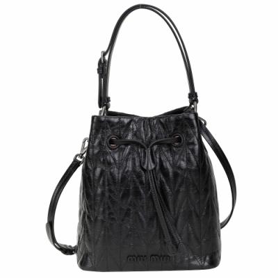 miu miu SHINY 山型紋縫線小牛皮手提斜背水桶包(黑色)