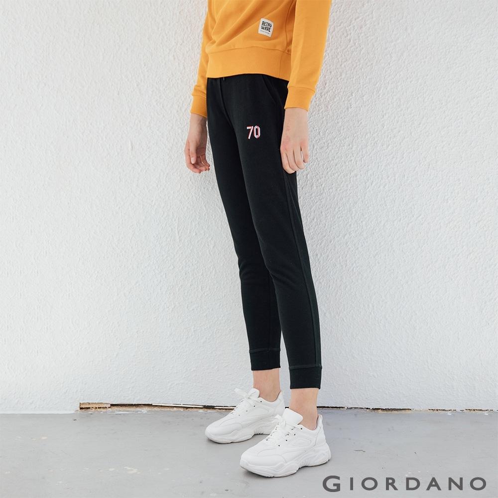 GIORDANO 女裝RETRO WAVE刺繡棉褲-11 標誌黑