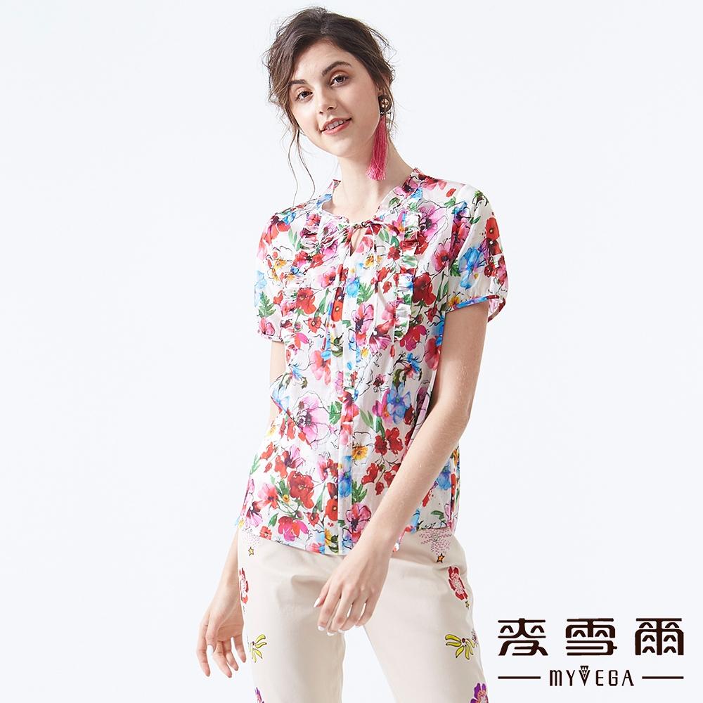 【麥雪爾】春氛絢麗花朵綁帶領短袖上衣