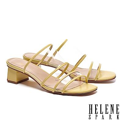 拖鞋 HELENE SPARK 時尚潮流透明膠片羊皮滾邊粗高跟拖鞋-黃