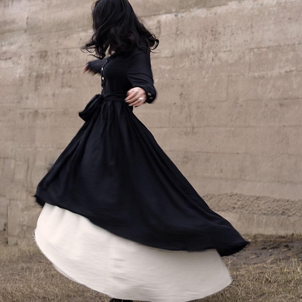 設計所在Style-新款暗黑風假兩件蓬鬆中長版洋裝