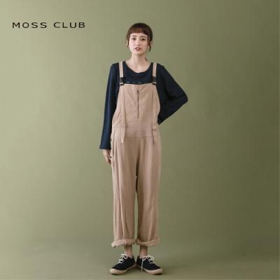 【MOSS CLUB】日系吊帶刺繡兔寬-長褲(卡)