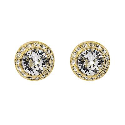 SWAROVSKI 施華洛世奇 璀璨水晶圓型金色耳環