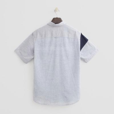 Hang Ten - 男裝 - 拼接色塊簡約短袖襯衫 - 藍