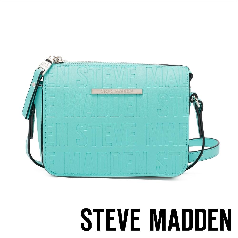 STEVE MADDEN-BCUBA 品牌壓紋拉鍊側背斜背包-Tiffany藍