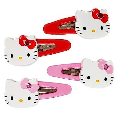 HELLO KITTY凱蒂貓閃鑽髮夾(四入組)