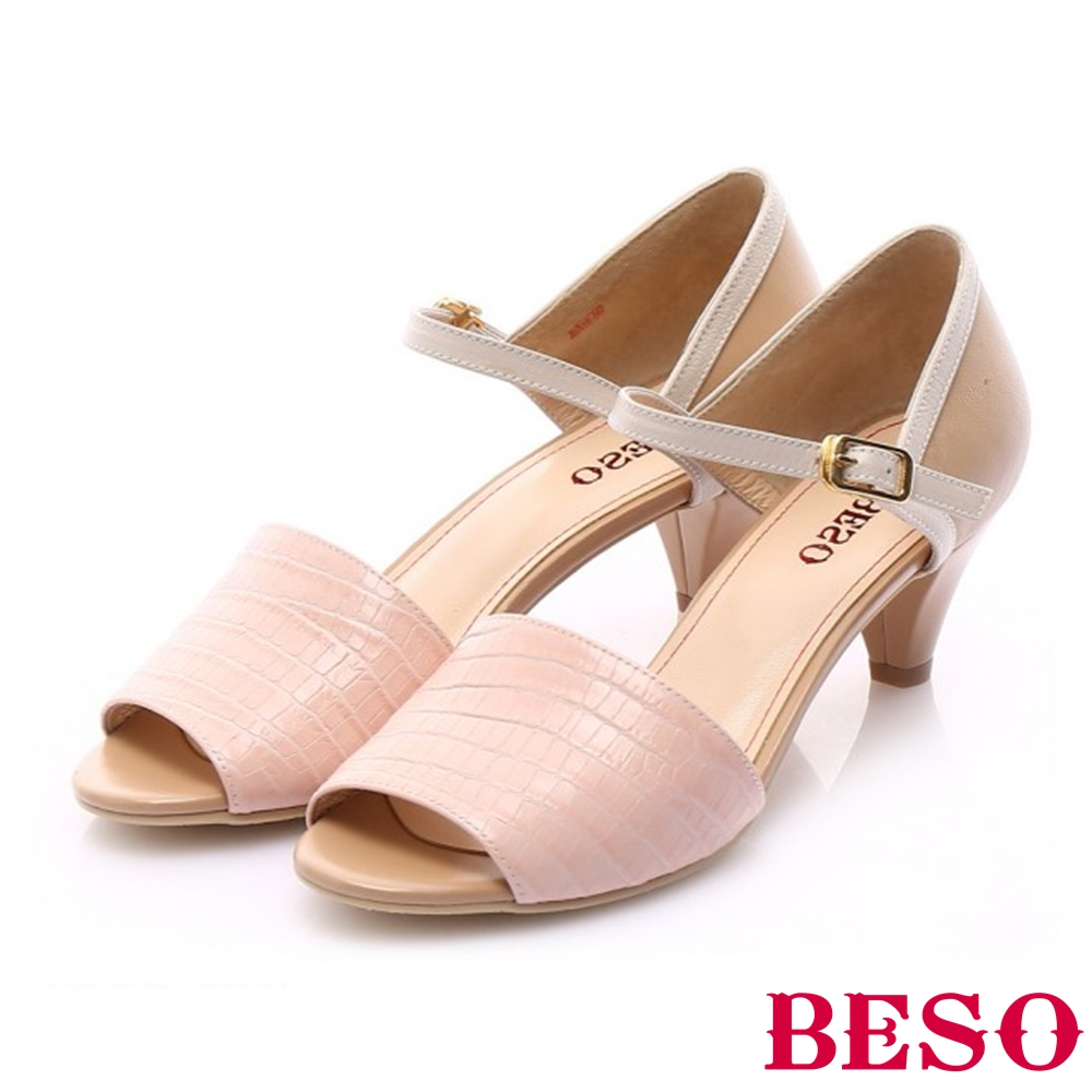 BESO 優雅簡約 壓紋牛皮繫踝帶魚口跟鞋~粉