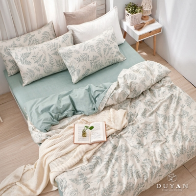 DUYAN竹漾-100%精梳棉/200織-雙人床包三件組-霧時之森 台灣製