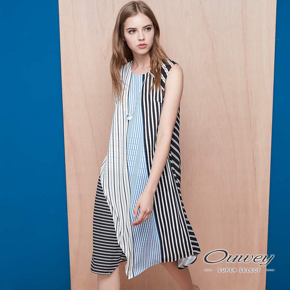 OUWEY歐薇 不規則條紋拼接洋裝(藍)