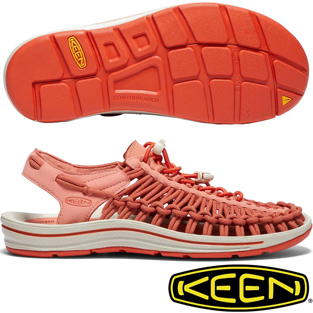 KEEN 1018696橘紅 Uneek女專業戶外護趾編織涼鞋