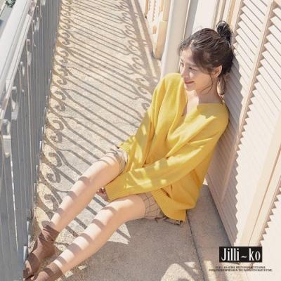 JILLI-KO 法式慵懶羅紋V領針織上衣- 杏/黃
