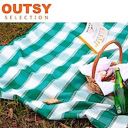 【OUTSY嚴選】戶外兩用防水桌巾/野餐墊 特大款(綠白寬格)