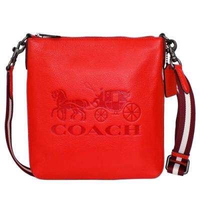 COACH紅色馬車圖印全皮方扁小款斜背包