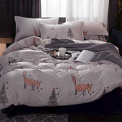 La Lune 冬季首選軒 s百分百法蘭絨雙人床包毯被四件組 俏皮小狐狸