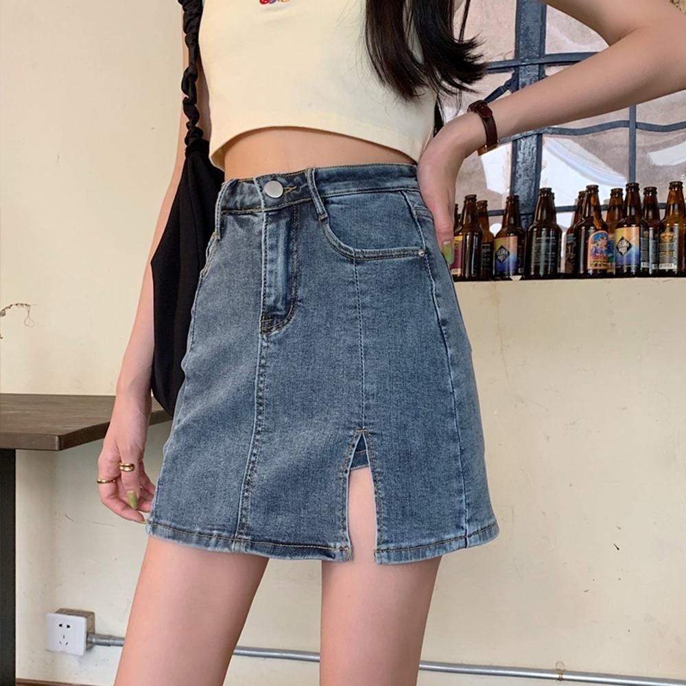 復古深藍小開衩高腰牛仔短褲裙XS-XL-WHATDAY