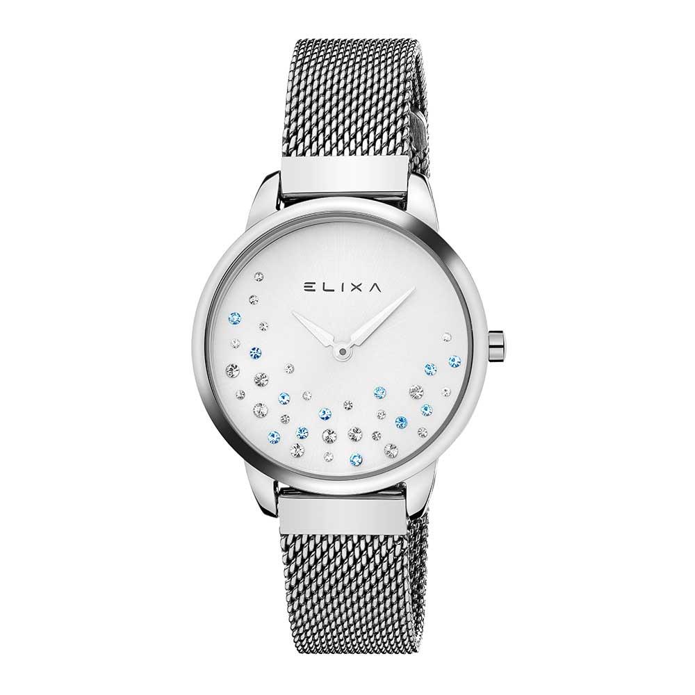 ELIXA Beauty晶鑽錶面無刻度米蘭帶系列 銀色錶帶手錶32mm