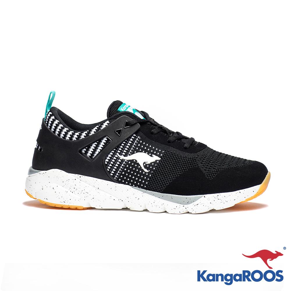 KANGAROOS 男 RUN BURST 科技針織跑鞋(黑白)
